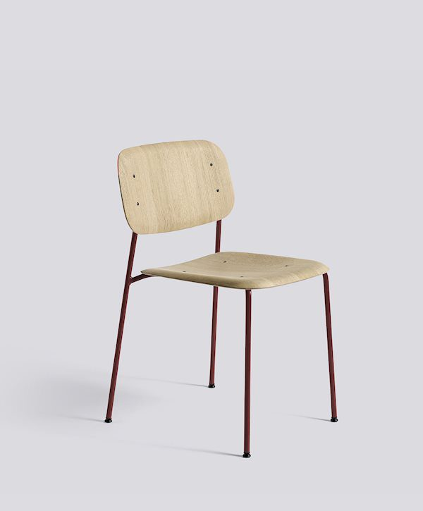 HAY_Soft edge 10_oak mat lacquered seat_fall red powder coated steel base